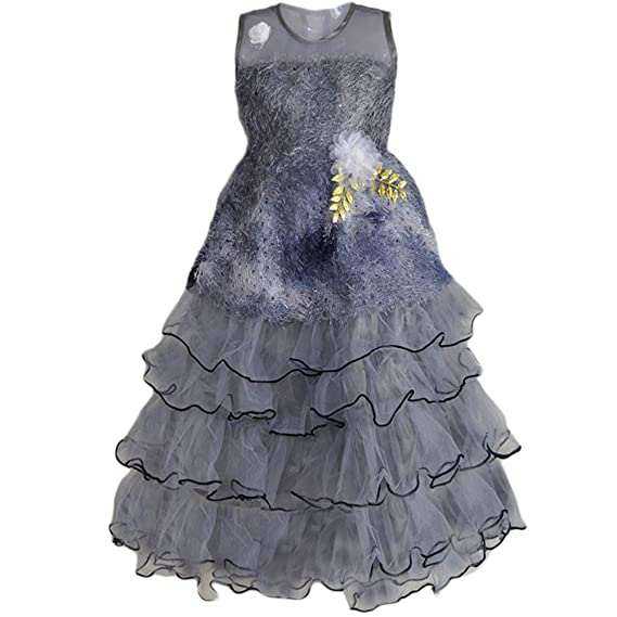 f4974cc593 Mishlee Beautiful Baby Girl Gown, Party wear Gown- Grey Color: Amazon.in:  Clothing & Accessories