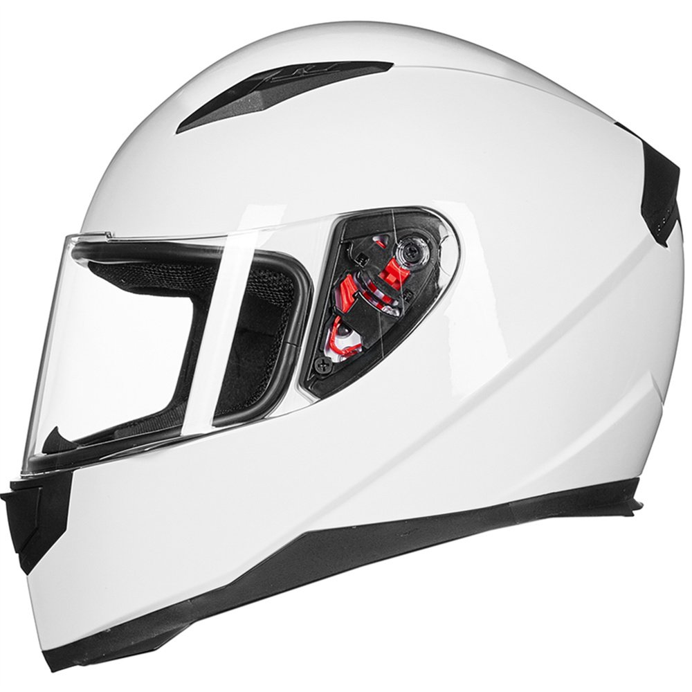 JK313-WHITE-S ILM Full Face Motorcycle Street Bike Helmet with Removable Winter Neck Scarf 2 Visors DOT S, White