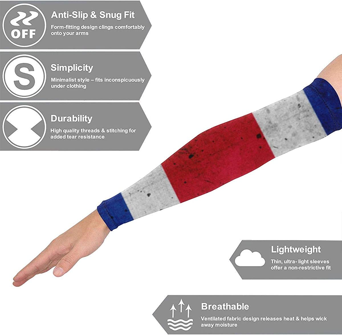 JHUIK Manica da braccio sportiva Protezione solare UV Grunge Costa Rica Bandiera Raffreddamento o scaldino Protezione solare unisex Protezione braccio per moto Calcio Ciclismo Corsa Pallacanestro 1 Pa