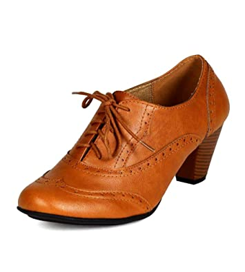 cdbc54c12ef5 Refresh Amany Women Leatherette Lace Up Oxford Chunky Heel Ankle Bootie  Shoes TAN (6)