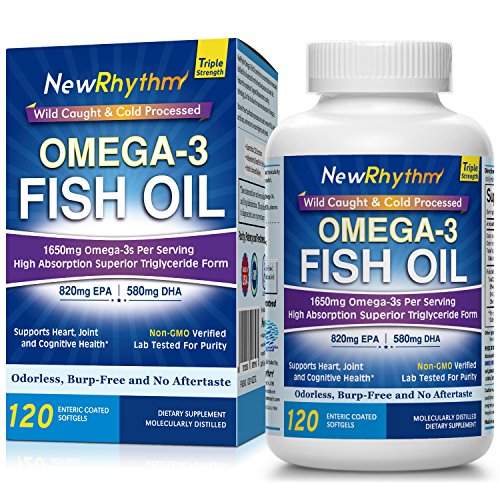 NewRhythm Triple Strength Omega 3 Fish Oil, 1650mg Omega3s, 120 Enteric Coated Softgels, 2500mg Fish Oil Per Serving