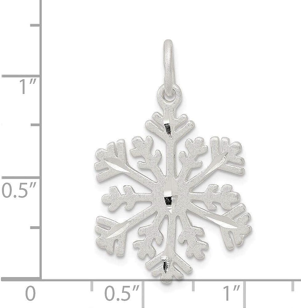 925 Sterling Silver Diamond Cut Satin Snowflake Charm and Pendant