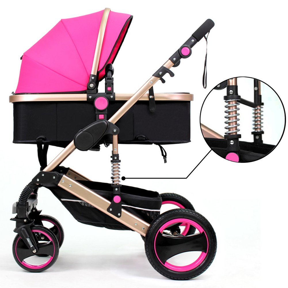 Belecoo™ Luxury Newborn Baby Foldable Anti-shock High View Carriage Infant Stroller Pushchair Pram(Rose Red)