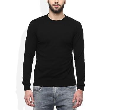 e91d164ea4 Super Weston Plain Black Round Neck Sweater For Men s  Amazon.in  Clothing    Accessories