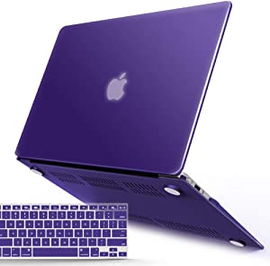 IBENZER MacBook Air 13 Inch Case A1466 A1369, Hard Shell Case with Keyboard Cover for Apple Mac Air 13 Old Version 2017 2016 2015 2014 2013 2012 2011 2010, Ultra Purple, A13UAPU+1