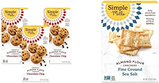 product image for Simple Mills Almond Flour Chocolate Chip Cookies, Gluten Free and Delicious Crunchy Cookies, 3 Count & Almond Flour Crackers, Fine Ground Sea Salt, Gluten Free, Flax Seed, Sunflower Seeds