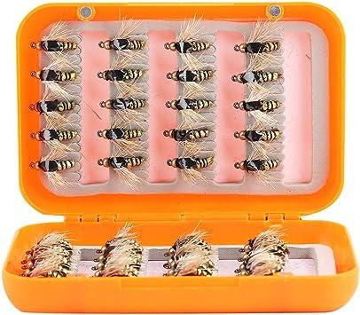 Alomejor Señuelos de Pesca con Mosca Moscas de Pesca con Mosca Conjunto Moscas de Mosquito seco Señuelo de Pesca Hecho a Mano con Caja para Pesca al Aire Libre(Oro): Amazon.es: Deportes y