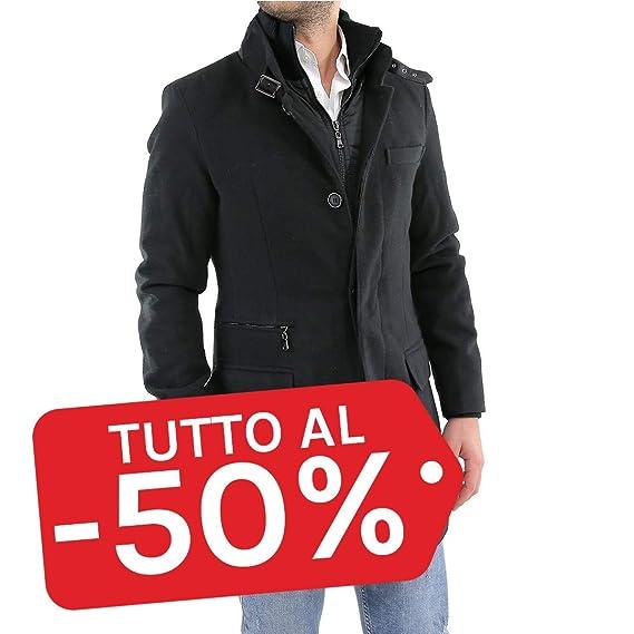 Cappotto Uomo Nero con Gilet Interno Invernale Lana Giaccone Elegante  Soprabito Lungo Sartoriale Casual  Amazon.it  Abbigliamento f1c277d49c0