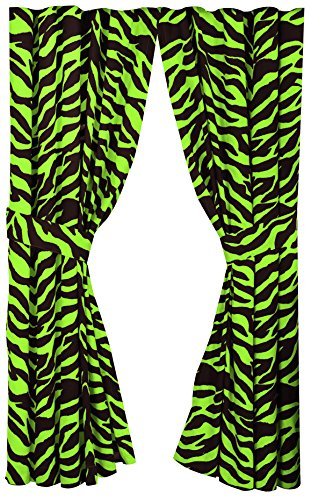 Karin Maki Zebra Rod Pocket Curtains, Lime (Maki Zebra Karin)
