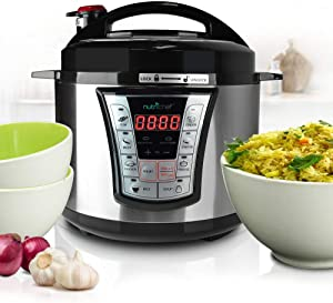 NutriChef Electric Pressure 5 Quart Programmable Multi-Cooker with Digital Display   R Accessory, 5 Qt Capacity, Stainless Steel