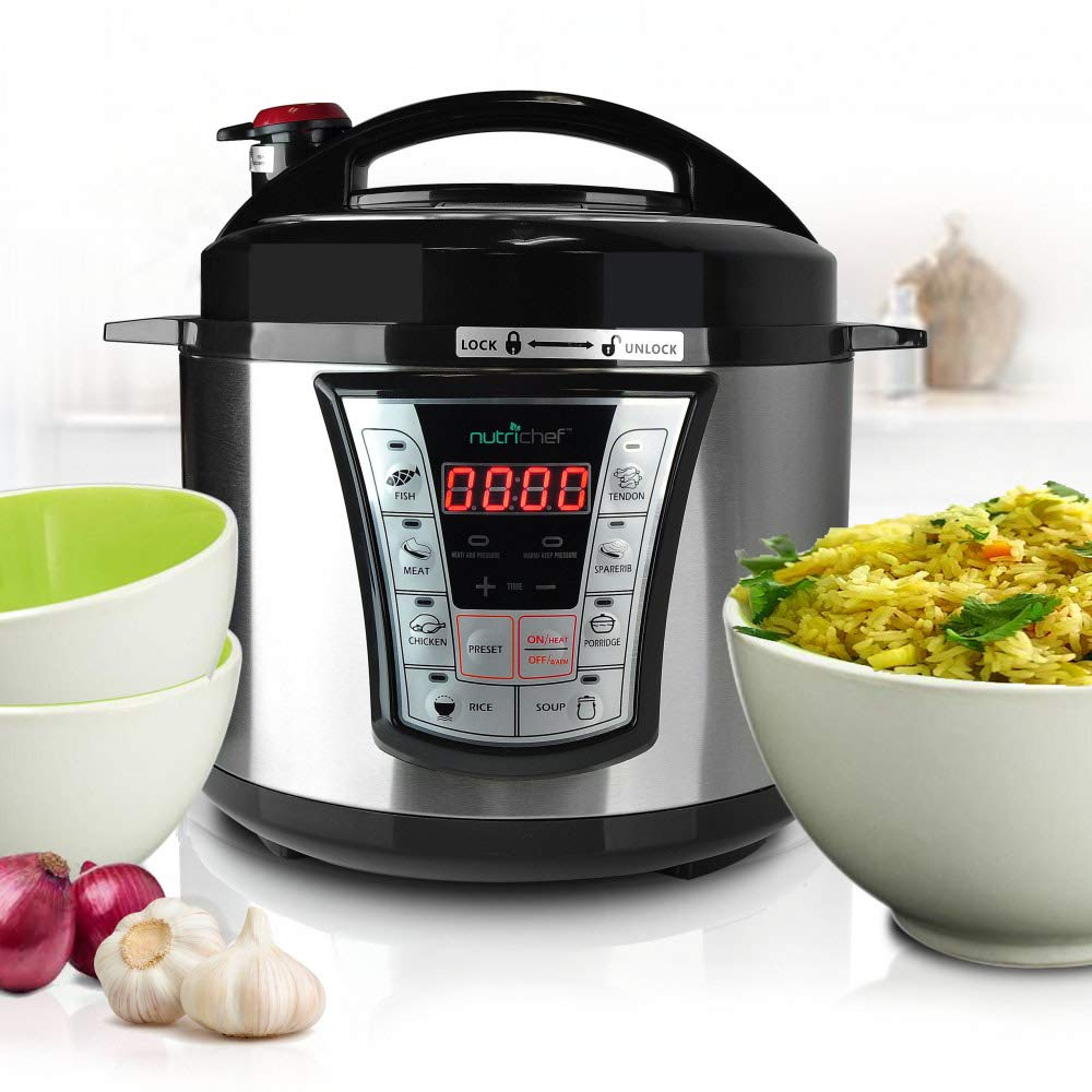 NutriChef Electric Pressure Cooker - 5 Quart Programmable Multi-Cooker with Digital Display | Rice Cooker | Slow Cooker | Adjustable Temp & Timer (PKPRC66)