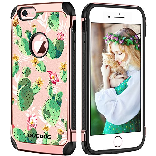 iPhone 6s Case, iPhone 6 Case, DUEDUE Green Cactus Design Hybrid Slim Hard PC Cover Soft TPU Bumper Shockproof PU Leather Protective Phone Case for iPhone 6/iPhone 6s 4.7 ()