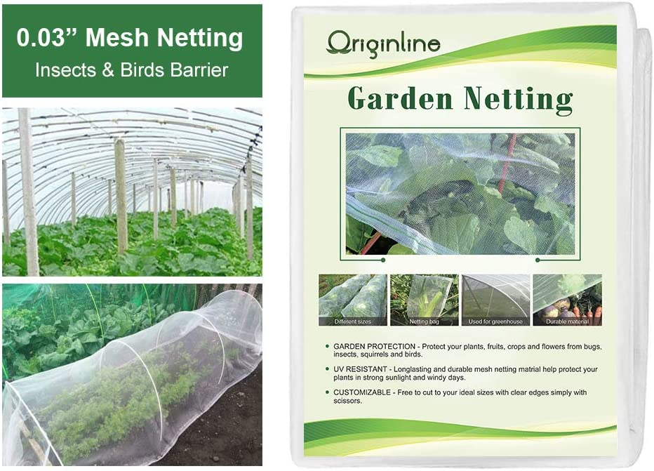 Originline Garden Netting Bug Mosquito Barrier Insect Screen Mesh Net, 8x30ft, White