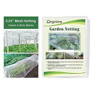 Originline Garden Netting Bug Mosquito Barrier Insect Screen Mesh Net, 10x20ft, White