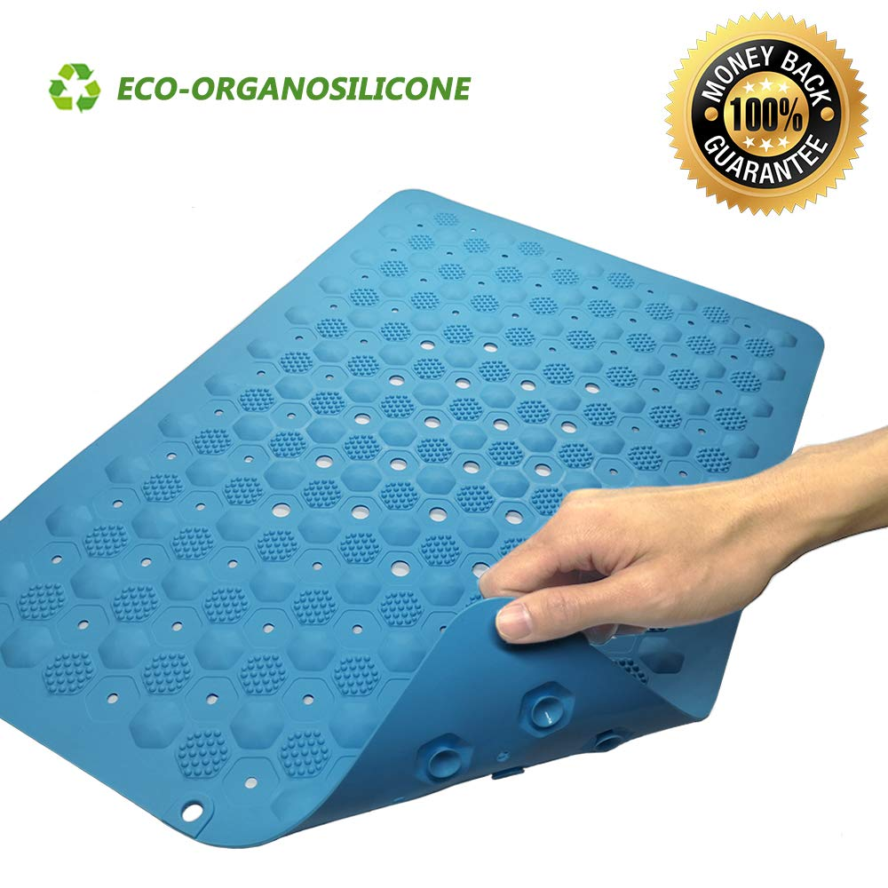 Gabriel Bath, Shower and Tub Mat Silicone (24X16), Non Slip Bathtub Mat with Drain Holes and Suction Cups for Elder or Kids, Safety Bathroom Mats, Super Soft (Blue)