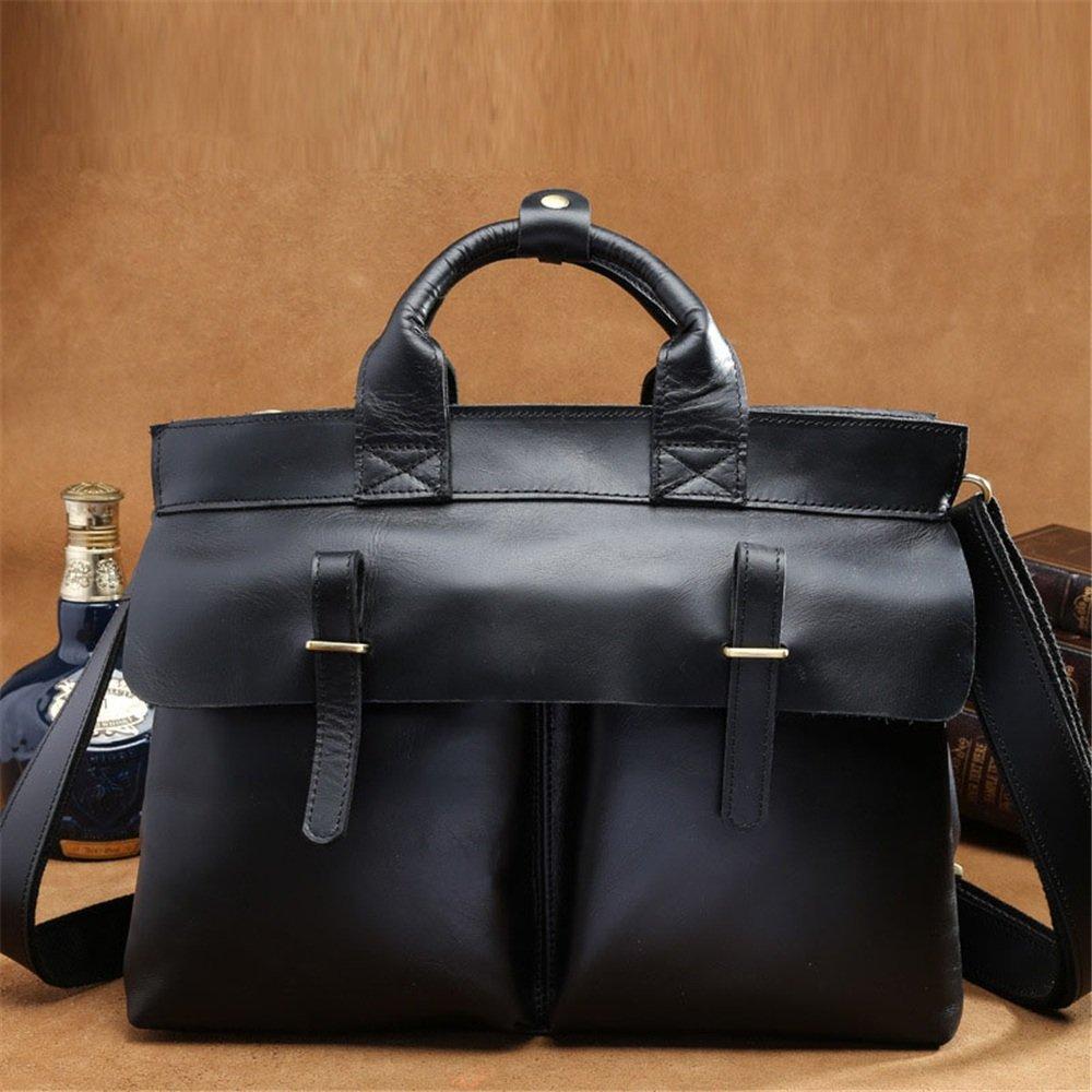 FLYSXP Mens Head Business Briefcase Leather Mens Bag Shoulder Crossbody Bag Black 39 29 12cm Briefcase