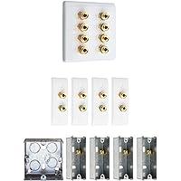 4.0Audio/AV Plaque Murale kit d'enceintes Surround Blanc Slimline avec Or Bornes de raccordement + arrière en métal Boîtes. Pas de Soudure requise