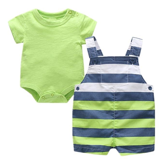 Amazon.com  Beide Baby Boys Outfits Short Sleeve Bodysuit + Striped  Shortall  Clothing 1a63c21ba69