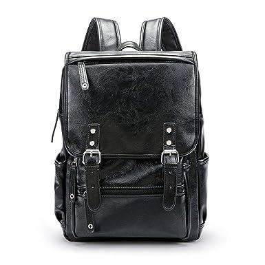 Men PU Leather Backpack Vintage Daypack Multi Pocket Casual Rucksack Vintage H made Tote Black
