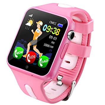 PINCHU V5 Niños Reloj Inteligente GPS con Cámara Facebook Emergencia Seguridad Anti Pérdida Sos para ISO Android Reloj Bebé Resistente Al Agua,Pink: ...