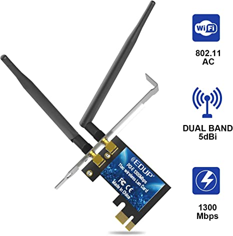 Pci Express Wifi Card Ac1300 PCIe Wireless Adapter 2.4/5 Ghz Dual Band internet Card for Desktop Windows 7/8.1/10 (EP-9607S)