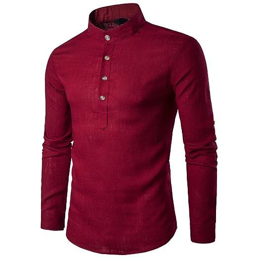 OHQ Camisa De Blusa De Hombre Botones De Tela De Lino De AlgodóN para Hombres Azul Negro Rojo Blanco Armada Beige… b6UtXuTdrS