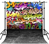 OUYIDA 10X10FT Seamless Wall Hip Hop Graffiti Style Pictorial Cloth Photography Background Computer-Printed Vinyl Backdrop PCK02C