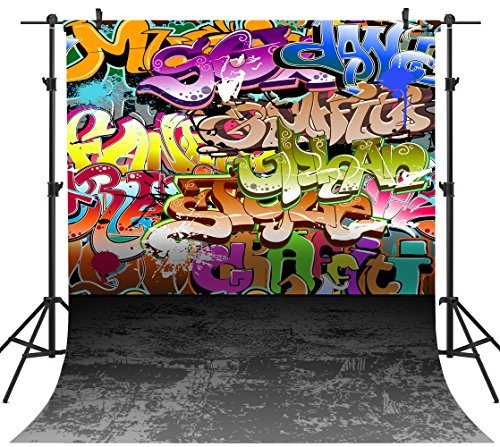 OUYIDA 10X10FT Seamless Wall Hip Hop Graffiti Style Pictorial Cloth Photography Background Computer-Printed Vinyl Backdrop PCK02C by OUYIDA