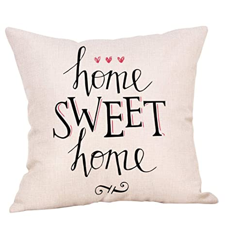YWLINK 1PC Tirar Almohada Sweet Home Cotton Linen Square ...