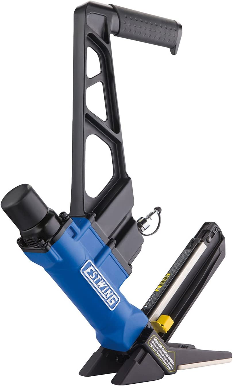 Estwing EFL50Q Pneumatic 2-in-1 15.5-Gauge and 16-Gauge 2 Flooring Nailer and Stapler Ergonomic and Lightweight Nail Gun for Hardwood Flooring with Interchangeable Base Plates, No-Mar Feet and Mallet