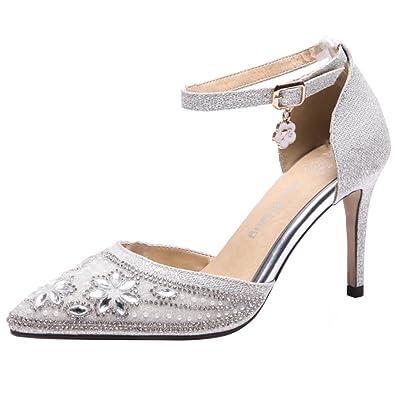 Aiyoumei Geschlossene Sandalen Damen Glitzer High Heels