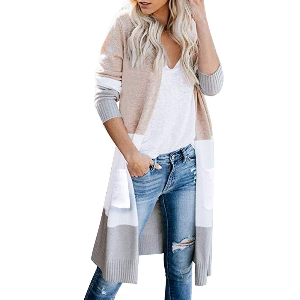 SturrlyWomens Boho Open Front Cardigan Colorblock Long Sleeve Loose Knit Lightweight Sweaters Khaki by Sturrly