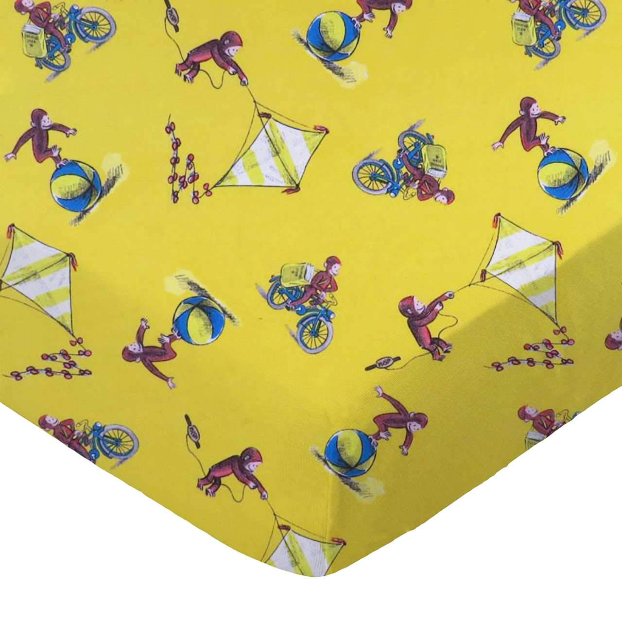 SheetWorld Fitted 100/% Cotton Percale Pack N Play Sheet Fits Graco 27 x 39 Curious George Fun Made in USA