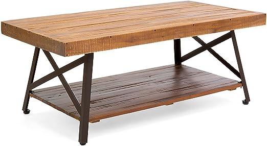Britoniture Mesa auxiliar rústica de madera de acacia con patas de ...