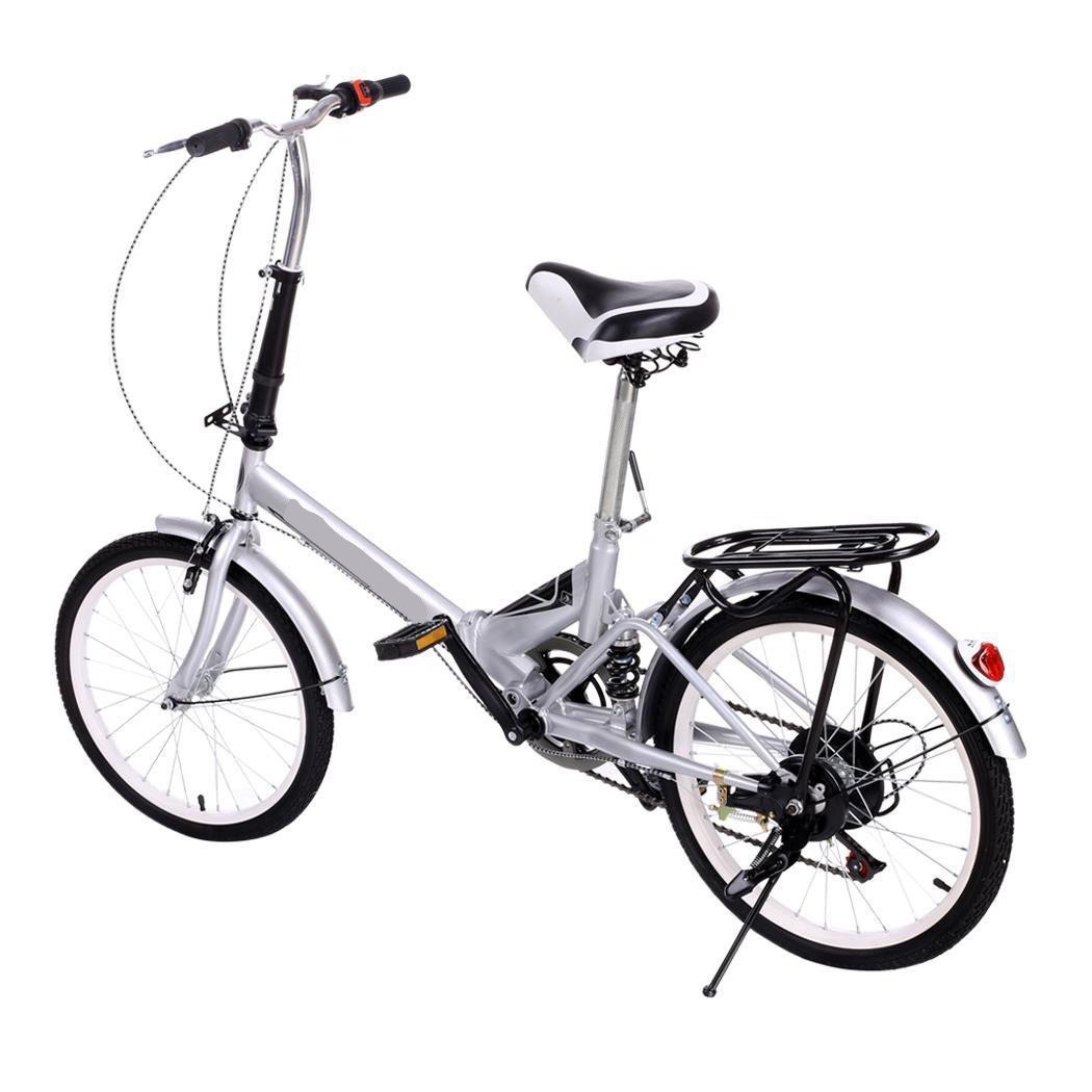 Utheing 20inch Wheel Folding Bike 6 Speed Mountain Bicycle Cycling Steel Frame Double Disk, Silver by Utheing (Image #4)