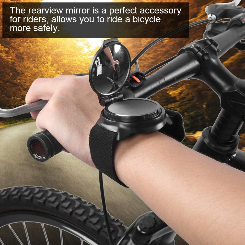 Aigend Bike Mirrors Rotatable Bicycle Rearview Mirror Cycling Arm Wrist Strap Rear View Mirror