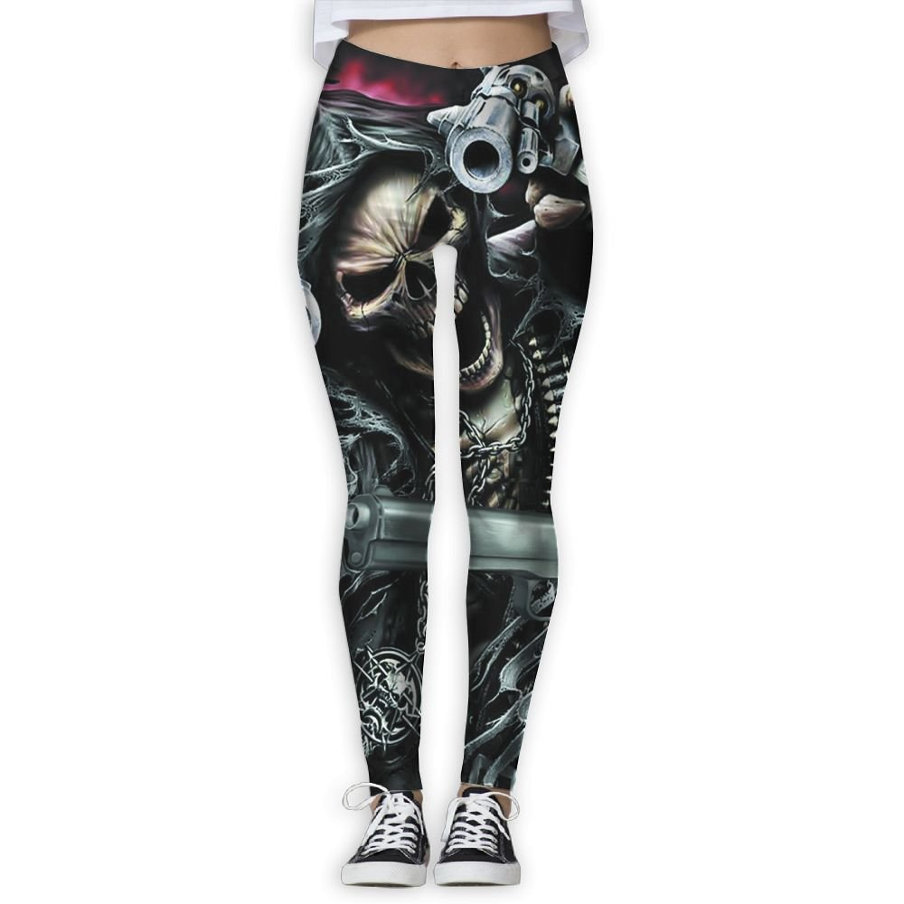 Women Stretchy Fire Skull With Guns Workout Athletic Leggings