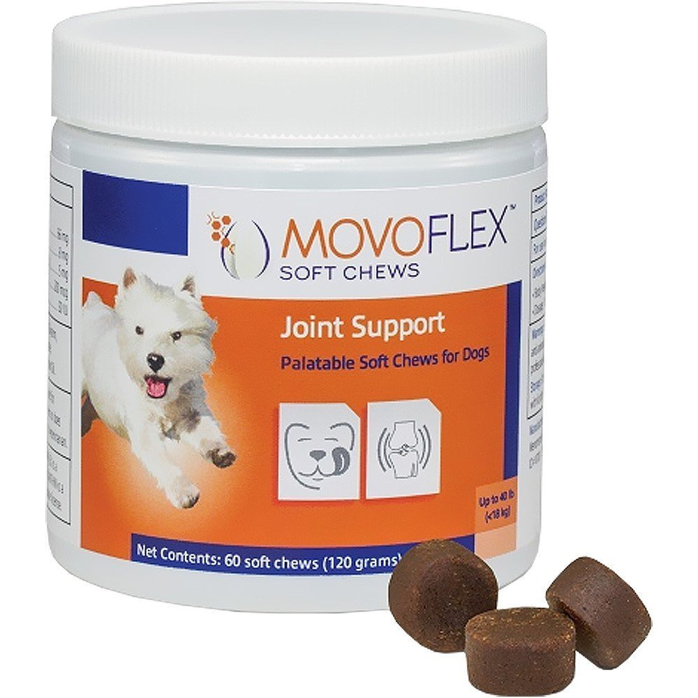 1 Pack MoVo Flex Joint Support Chews for Small Dogs Gluten Free One Chew A Day Help Hip Dysplasia & Discomfort 60 Soft Chew Treats