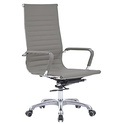LSCING High Back Upholstered Leather Executive Conference Chair With Arms,  Grey