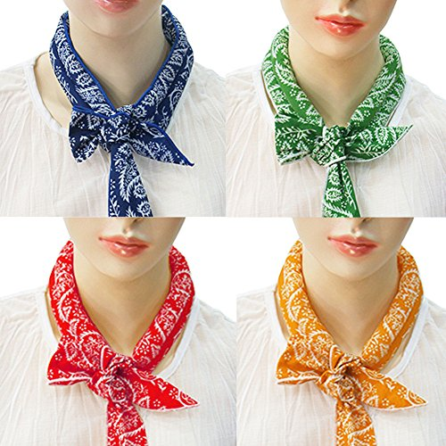 Pack of 4, The Elixir Ice Cool Scarf Neck Wrap Headband Bandana Cooling Scarf (Orange, Green, Blue, Red)