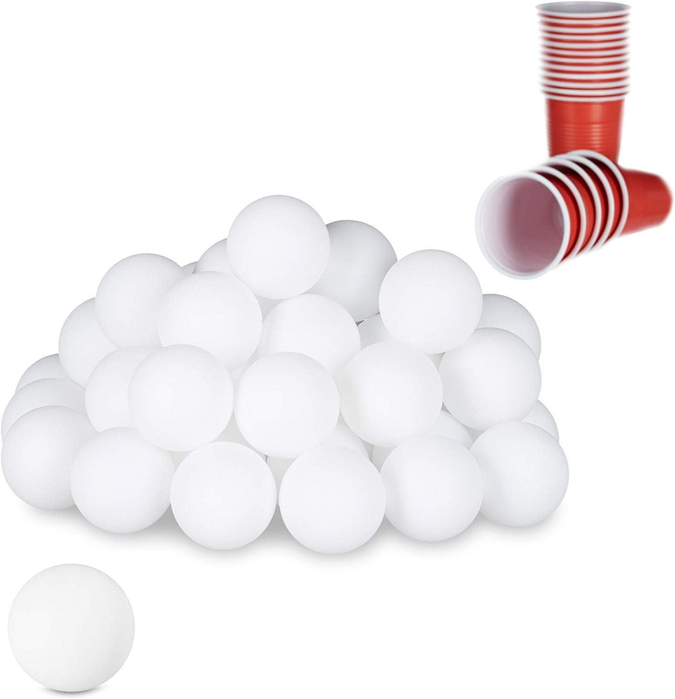 Relaxdays Pelotas Ping Pong, Beerpong Bolas, 48 Unidades, Juego para Fiestas, Lisas y Vacías, 38 mm, Plástico, Blanco, Color, 48er Pack (10021524)
