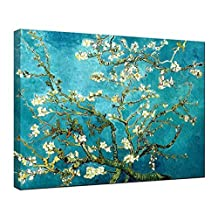 Wieco Art - Almond Blossom Modern Stretched and Framed Floral Giclee Canvas Prints By Van Gogh Famous Oil Paintings Reproduction Flowers Pictures on Canvas Wall Art Ready to Hang for Bedroom Home Decorations