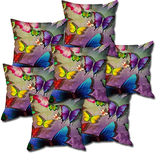 Butterfly pattern designer cushion cover with filler (16x16) by Aart Store
