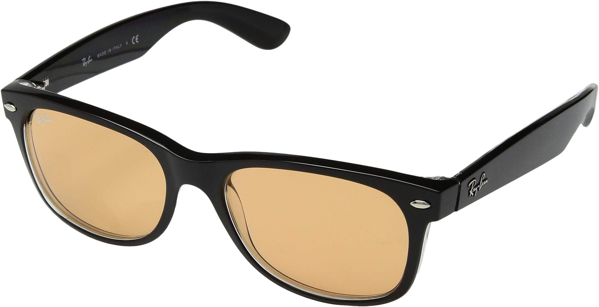 RAY-BAN RB2132 New Wayfarer Sunglasses, Black & Transparent/Yellow Mirror Gold, 55 mm by RAY-BAN