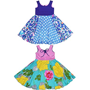 61326f6ec Image Unavailable. Image not available for. Color: TwirlyGirl Circle Skirt Dress  Girls Reversible Flip Spin Yellow Pink USA Made