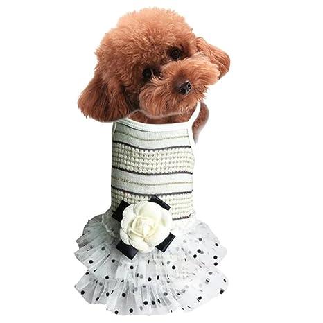 Gnaixeh Ropa para Mascotas Niña Perro Elegante Flor Tutú Guardapolvos Vestido Perro Perrito Gato Ropa