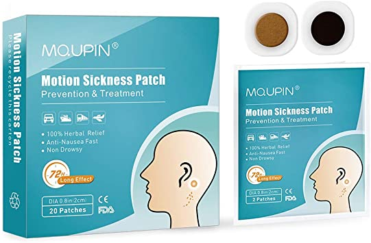 MQUPIN® Motion Sickness Patch Anti-Nausea Relief Vomiting Nausea Dizziness  Easy to Carry Suit for Car Sea Air Travel 20 Count/Box: Amazon.co.uk:  Health & Personal Care