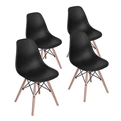 HOMY CASA Dining Chair Mid Century Modern Style Eames Dining Chair Seat  Height Natural Wood Legs