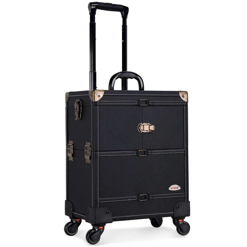 SORISE Makeup Case Professional Rolling Aluminum Cosmetic Organizers Trolley Train Case For Travel,With 4 Removable Wheels&Mirror, Black