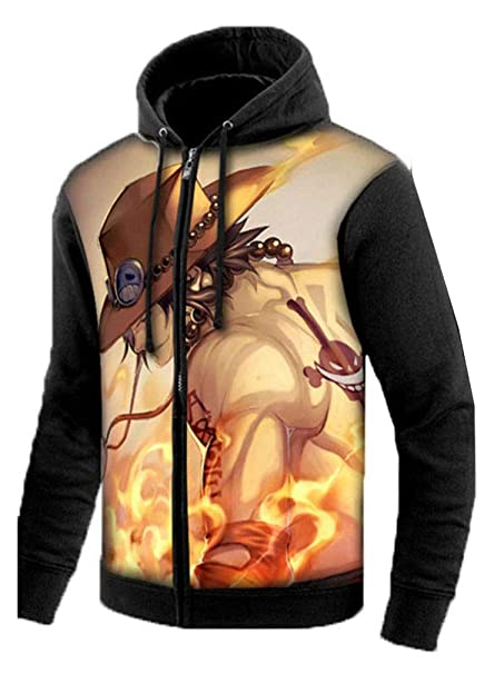 Cosstars One Piece Anime Sudaderas con Capucha Hoodie Sweatshirt Adulto Cosplay Luminoso Zip Jacket: Amazon.es: Ropa y accesorios